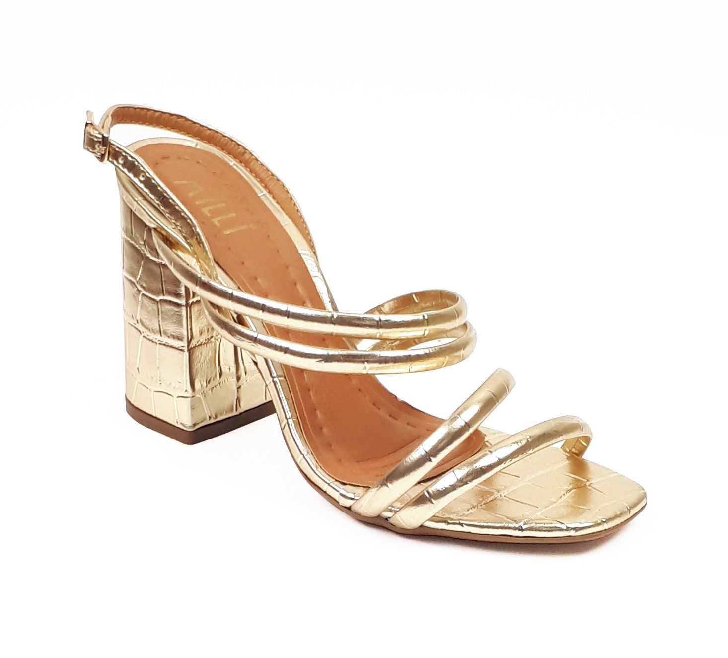 Sandália croco metalizada ouro