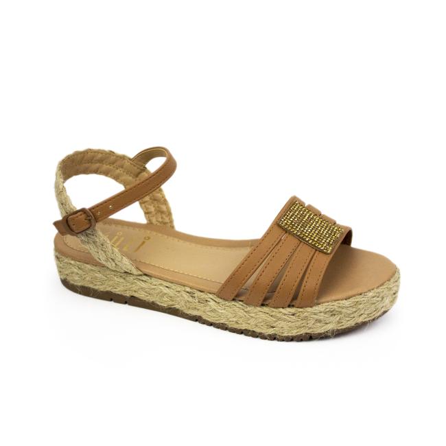 Sandália Flatform Milli em corda, com detalhes em brilho dourado