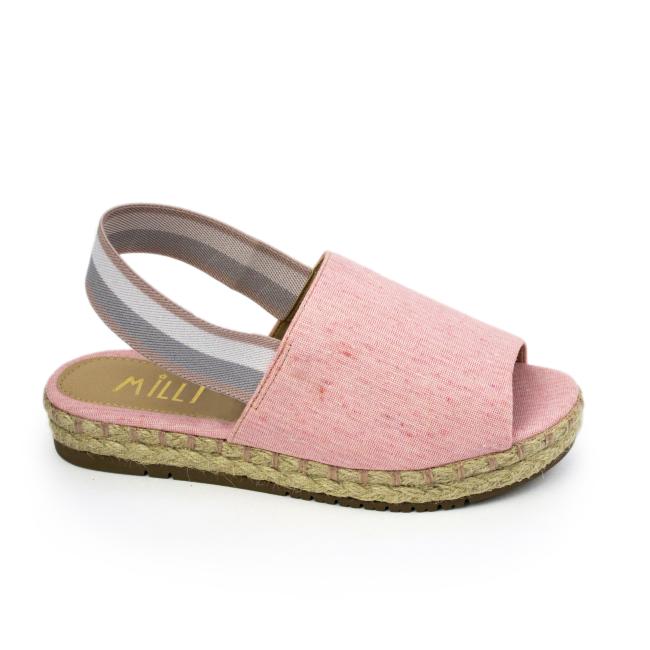 Sandália Flatform Milli em gorgurão Rosa Claro