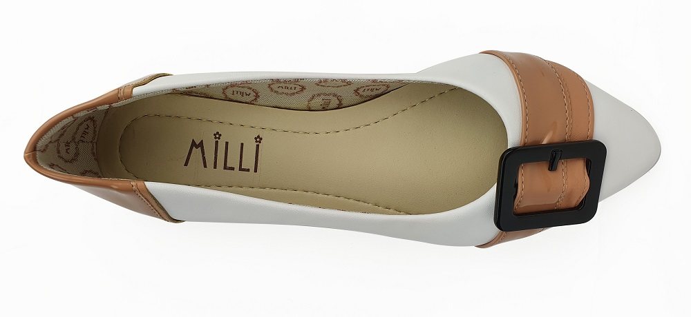 Sapatilha Milli Bico Fino Com Detalhe Bege