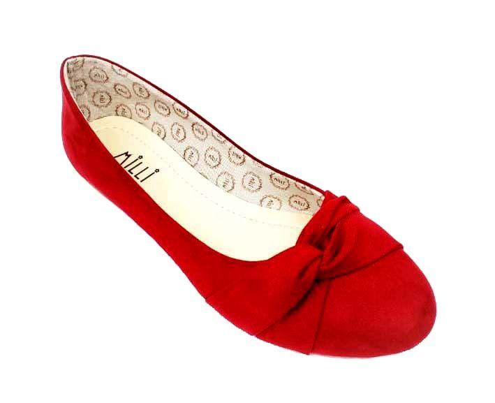 Sapatilha milli camurça vermelho bico redondo