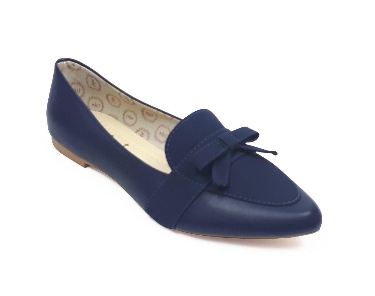 Sapatilha Milli estilo mocassim em sintético azul