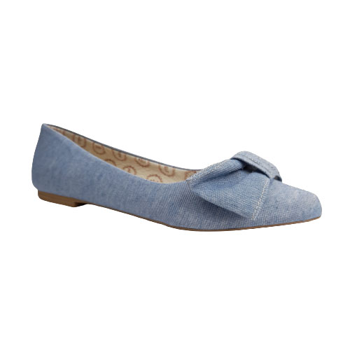 Sapatilha Milli Jeans Claro / Laço Frontal / Bico Fino