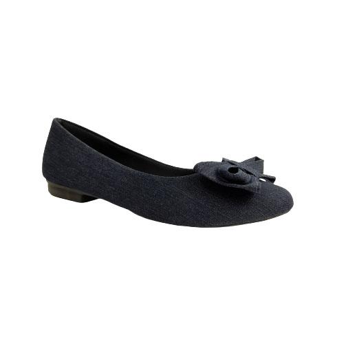 Sapatilha Milli Jeans / Laço Frontal / Bico Redondo