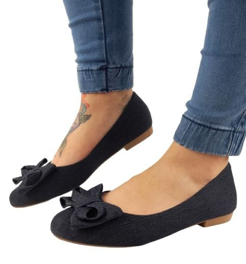 Sapatilha Milli  Jeans  / Com Laço / Bico Redondo