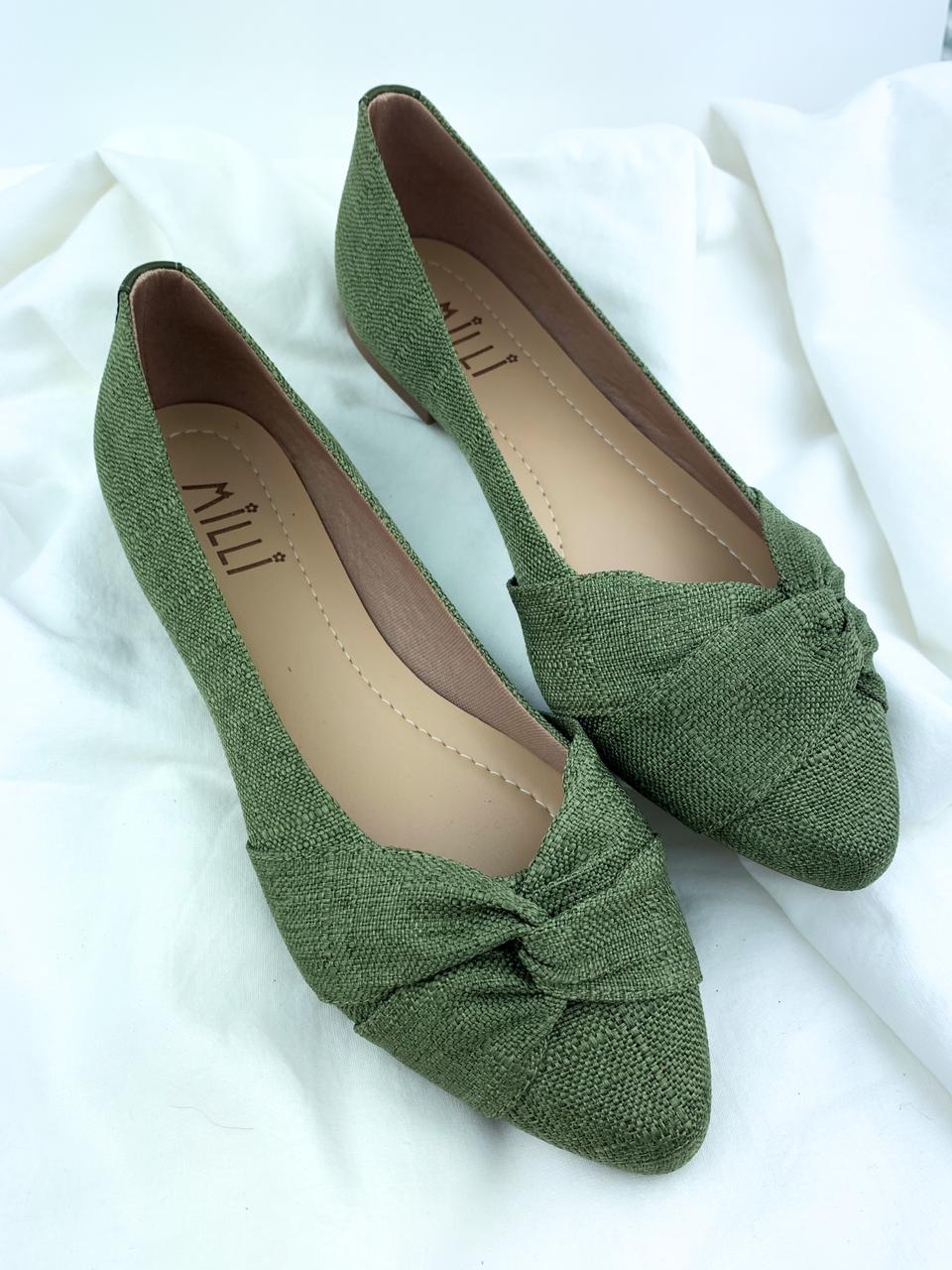 Sapatilha Pano Verde Bico Fino