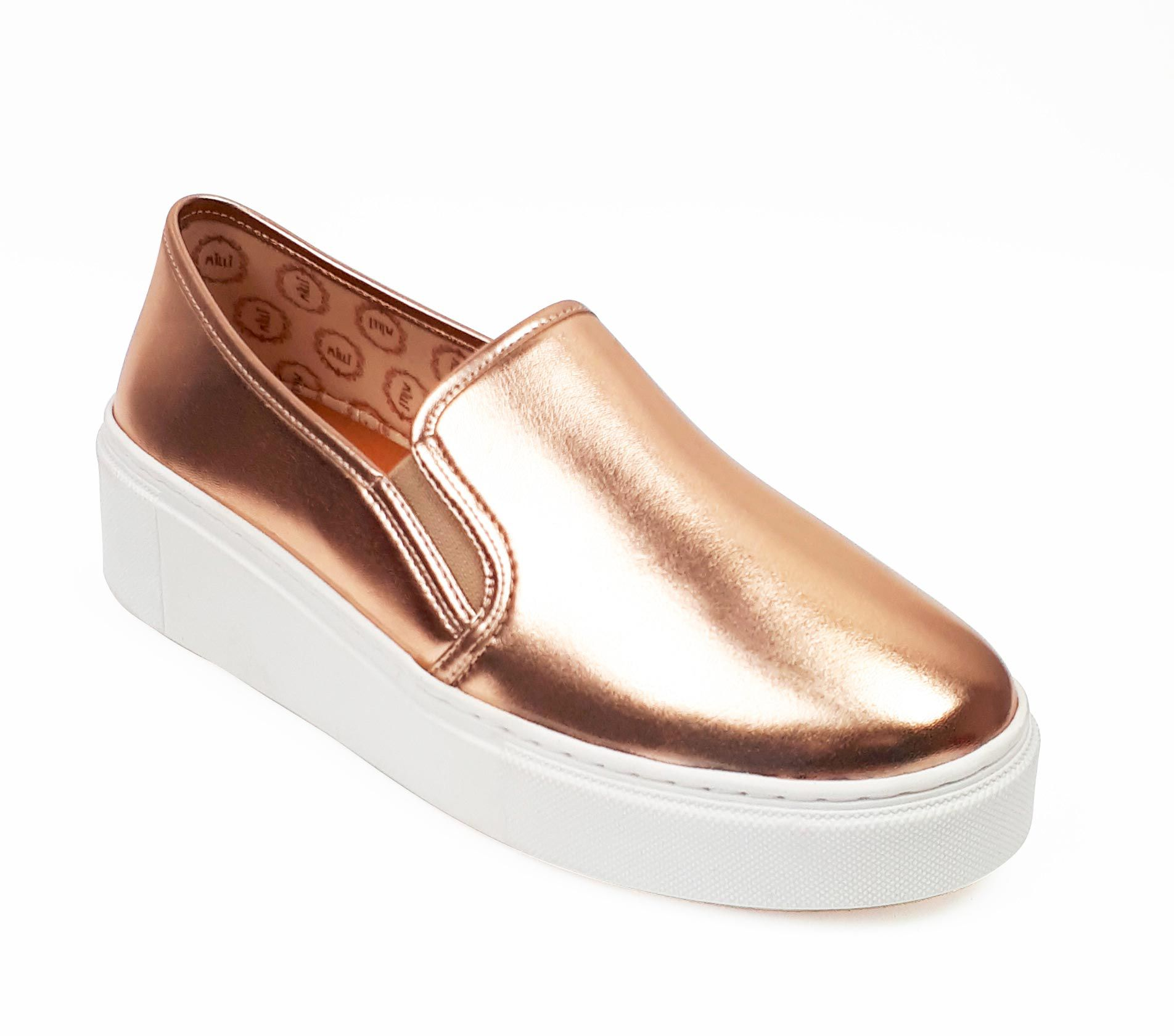 Tênis slip on flatform metalizado rose