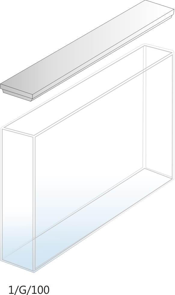 1/G/100 - Cubeta para Espectrofotômetro de Vidro 100mm (100x10x45 mm interno)
