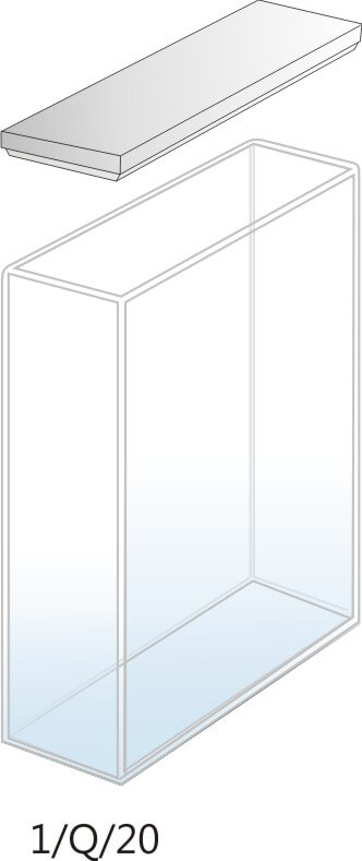 1/Q/20 - Cubeta para Espectrofotômetro de Quartzo - 20 mm (20 x 10 x 45mm interno)
