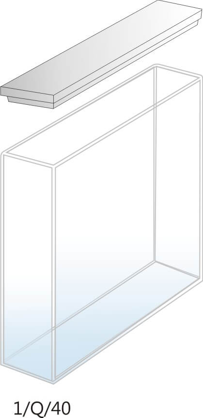 1/Q/40 - Cubeta para Espectrofotômetro de Quartzo - 40 mm (40 x 10 x 45mm interno)