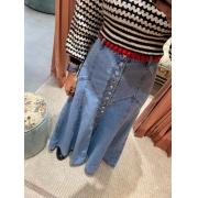 Saia Jeans Longa Botões