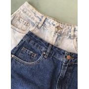 Short Jeans Basico Com Rasgo Frente - ESMERAL