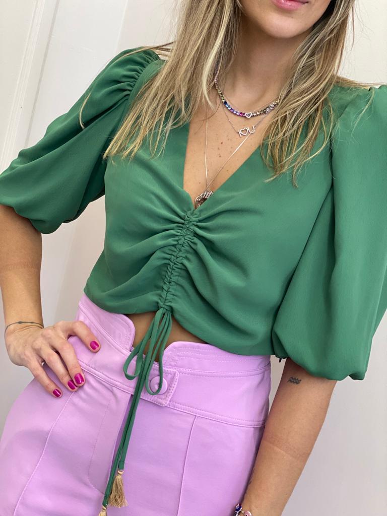 Blusa Cropped Franzido