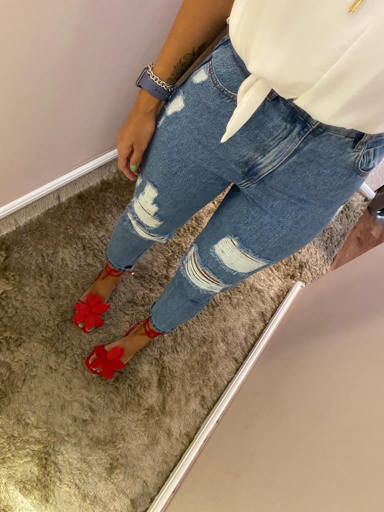 Calça Flora Jeans - 100% Algodão