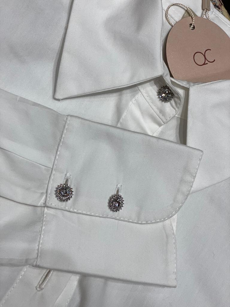 Camisa Tricoline Botão Jóia