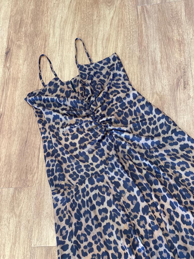 Vestido Franzido Animal Print