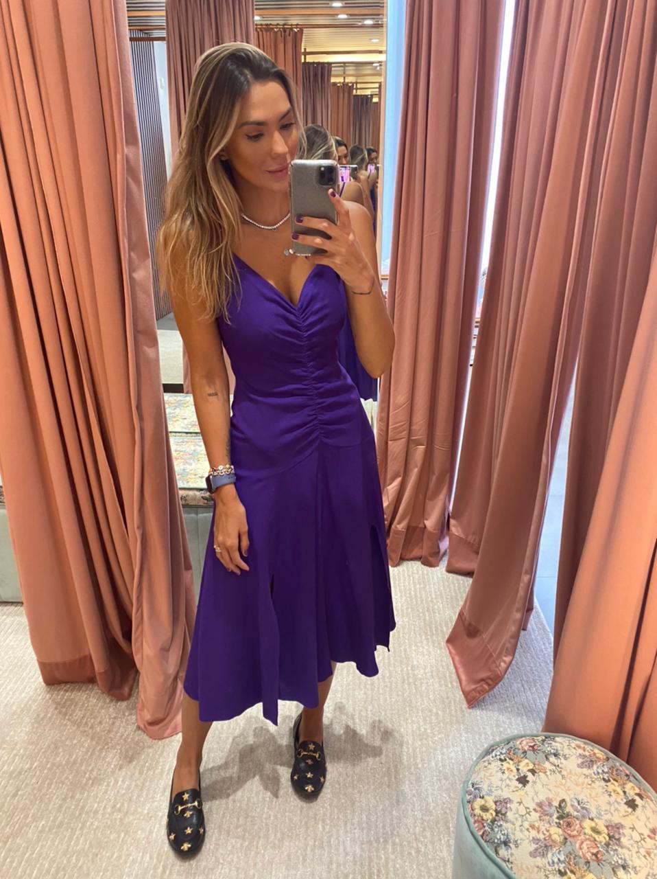 Vestido Linho Franzido Alcinha
