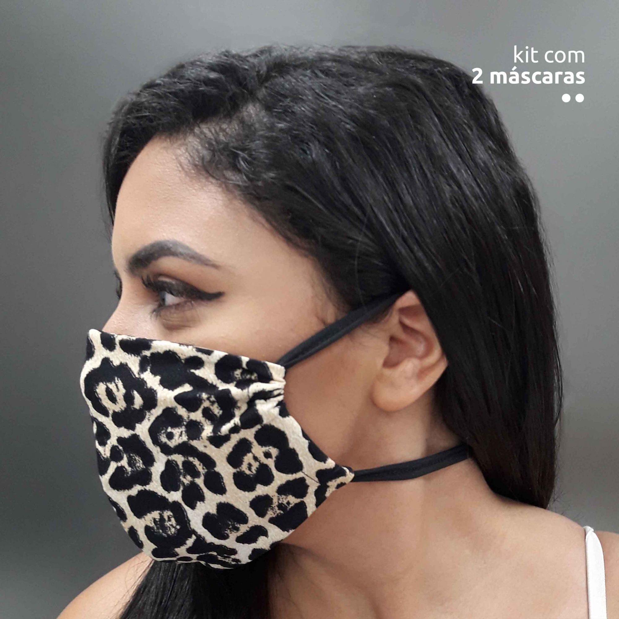 KIT 2 máscaras fashion - Estampa oncinha