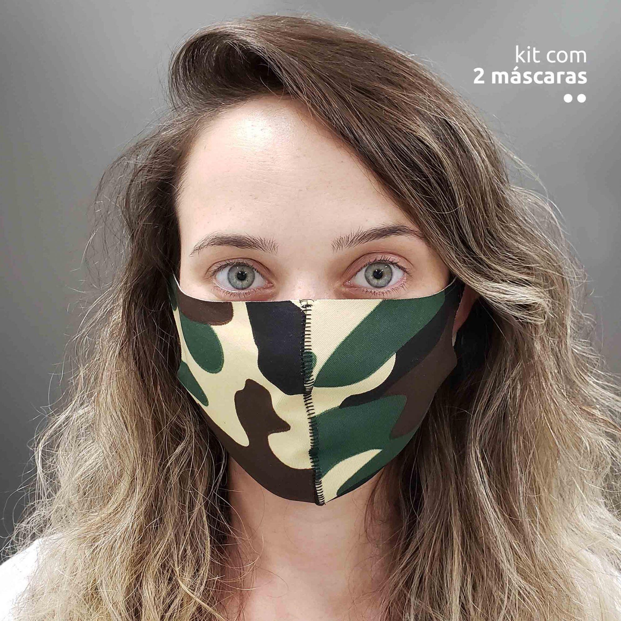 KIT 2 máscaras fashion ninja - Estampa militar
