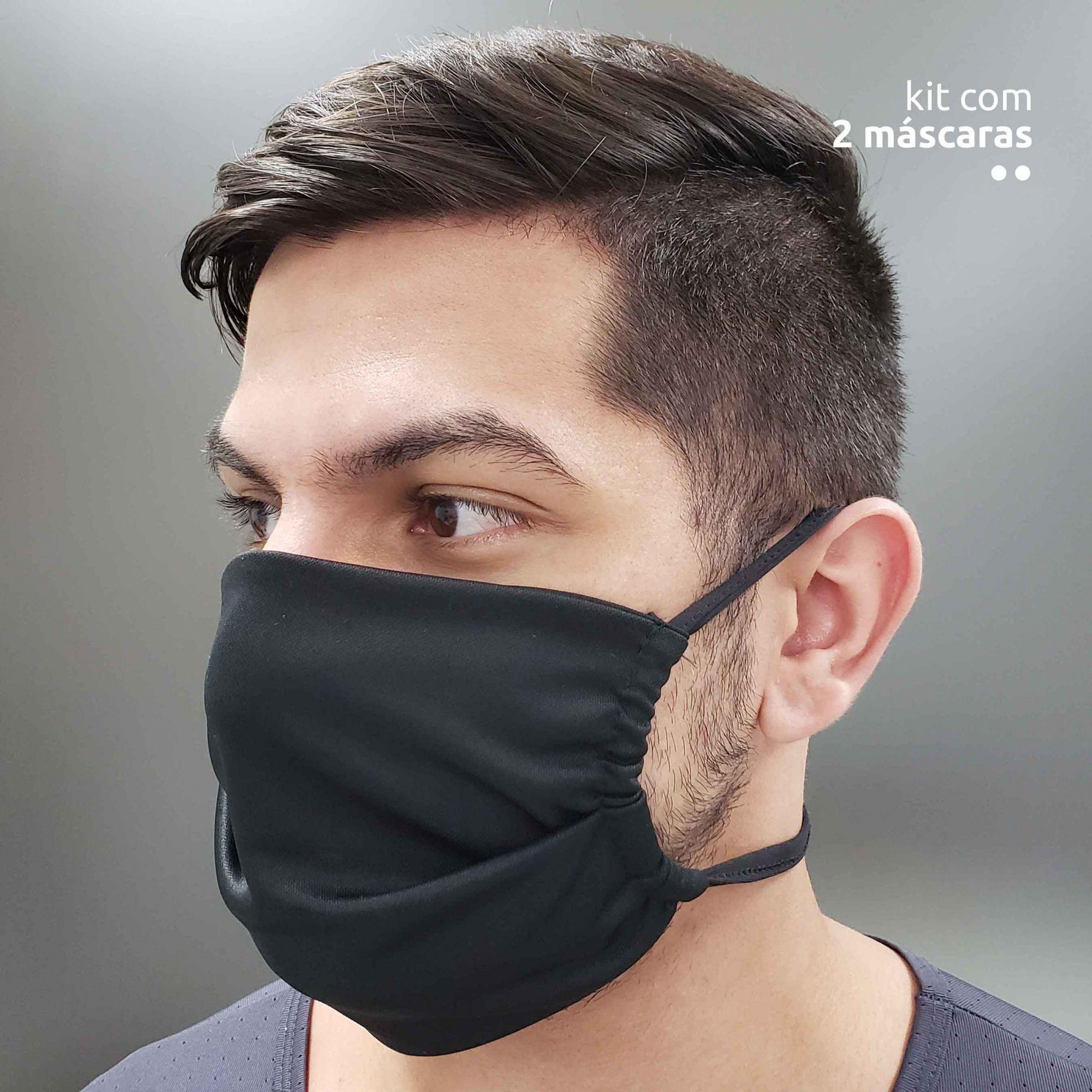 Kit com 2 máscaras antivirais - Preta