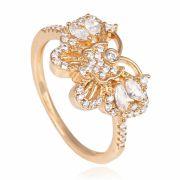 Anel de borboleta com zircônias cristais banhado a ouro 18k.