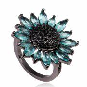 Anel de flor com micro zircônias negras e pétalas turmalina banho de grafite.