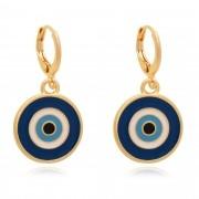 Brinco de argola olho grego resinado em azul banhado à 18k.