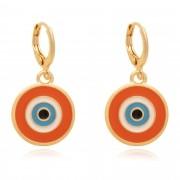 Brinco de argola olho grego resinado em laranja banhado à 18k.