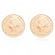 Brinco de moeda banhado a ouro 18K