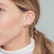 Brinco ear cuff de correntes banhado a ouro 18k