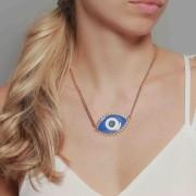 Colar banhado à ouro 18k com pingente olho grego azul.