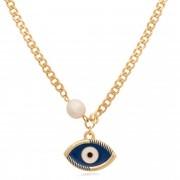Colar banhado à ouro 18k com pingente olho grego azul e pérola.