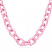 Colar cadeado 50cm na cor rosa bebê