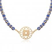 Colar olho grego azul com pingente banhado à ouro 18k.