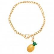 Pulseira banhado À ouro 18k com pingente abacaxi.