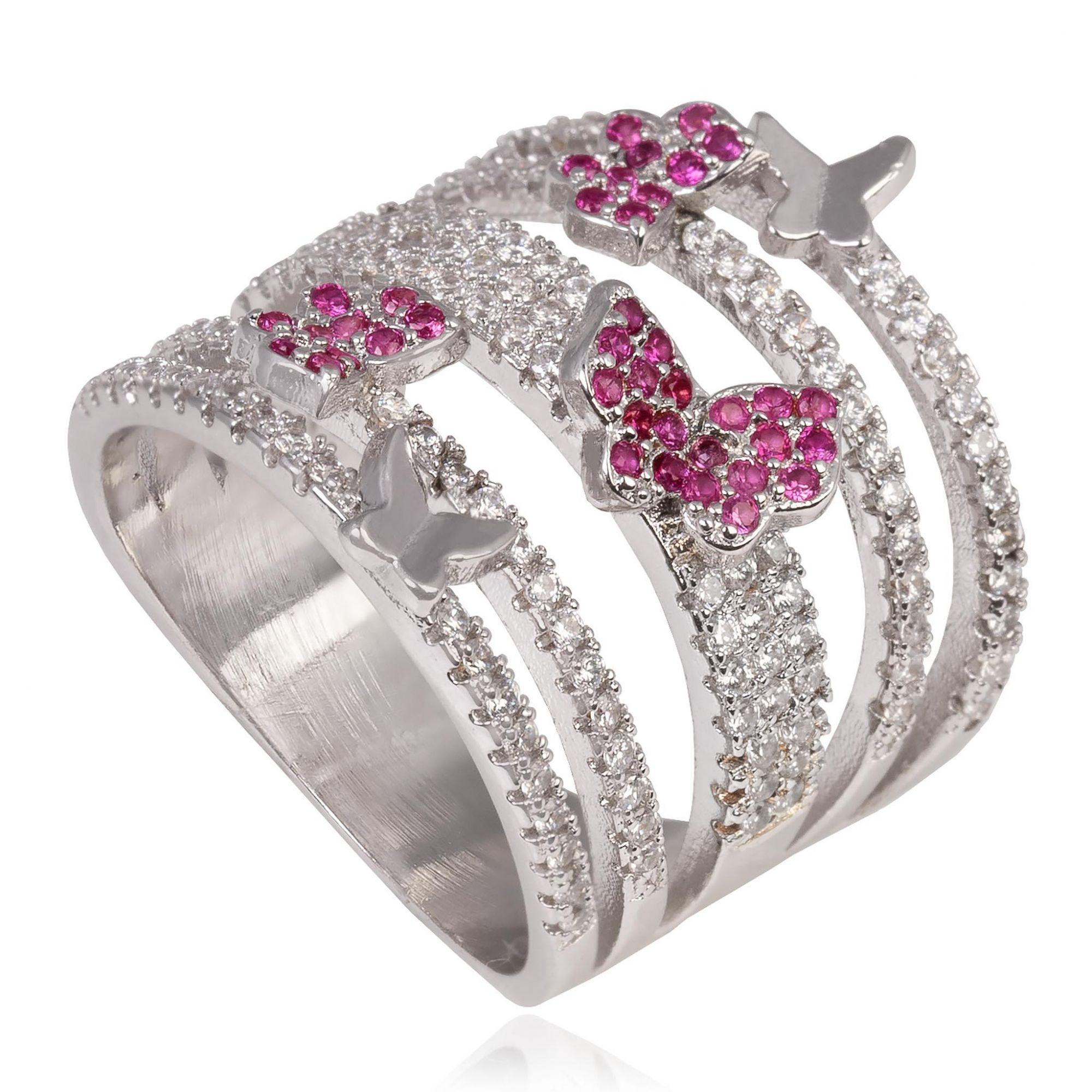 Anel com micro zircônias cristais e borboletas rubis banho de ródio branco.  - romabrazil.com.br
