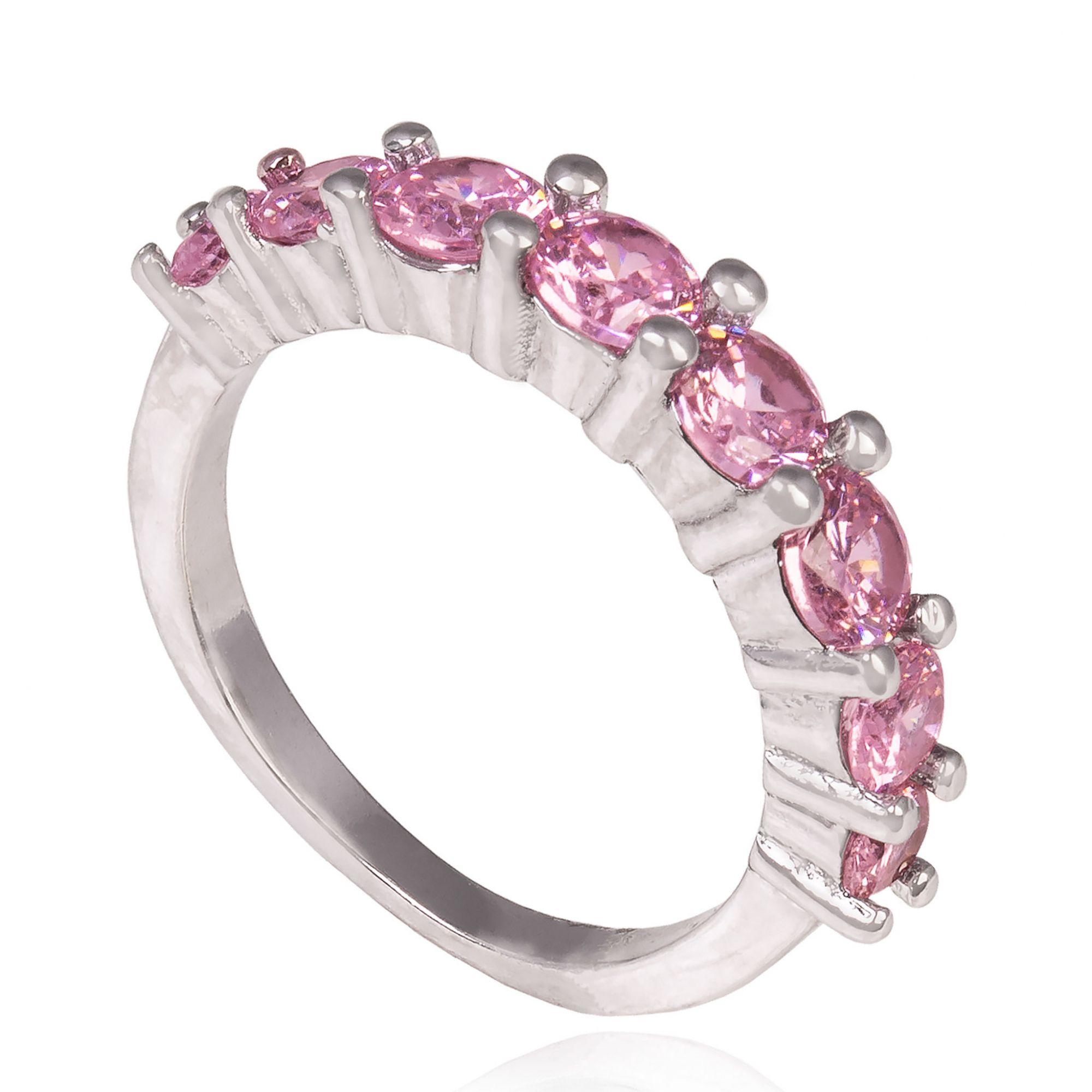 Anel com zircônias cor de rosa banho de ródio branco.  - romabrazil.com.br
