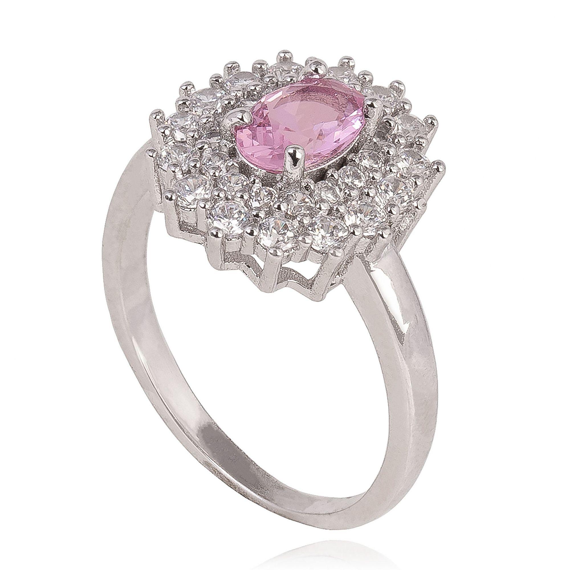 Anel com zircônias cristais e cor de rosa banho de ródio.  - bfdecor.com.br
