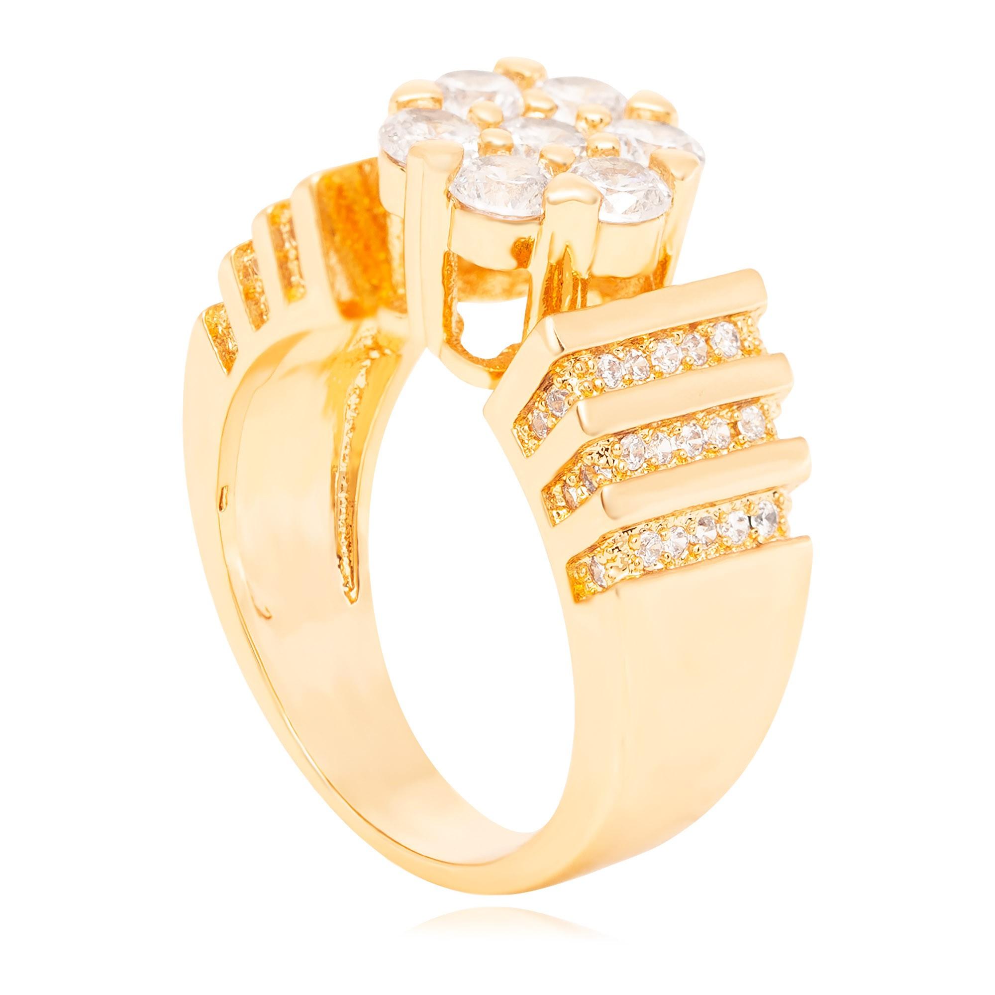Anel cravejado com micro zircônias banhado a ouro 18k  - romabrazil.com.br