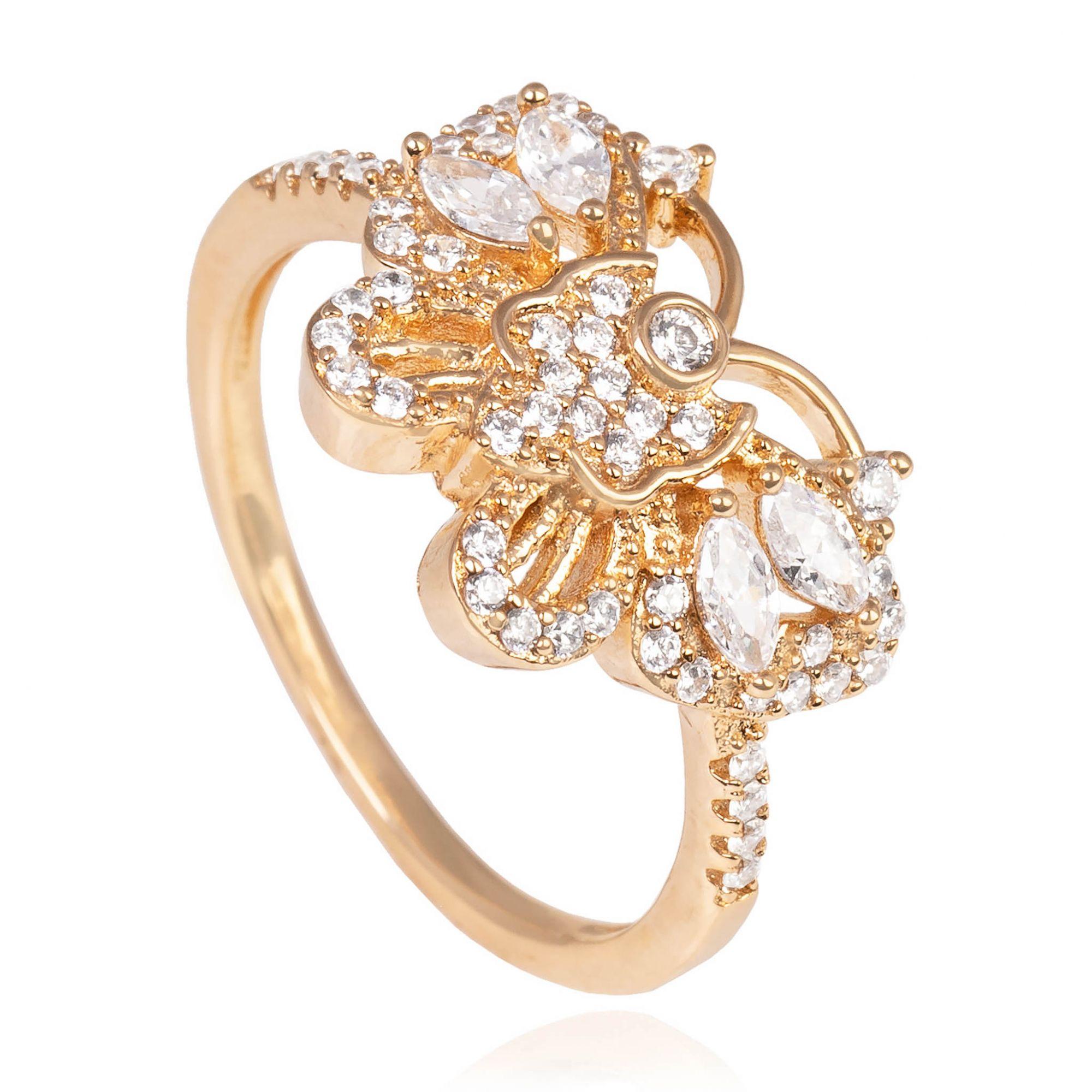 Anel de borboleta com zircônias cristais banhado a ouro 18k.  - romabrazil.com.br