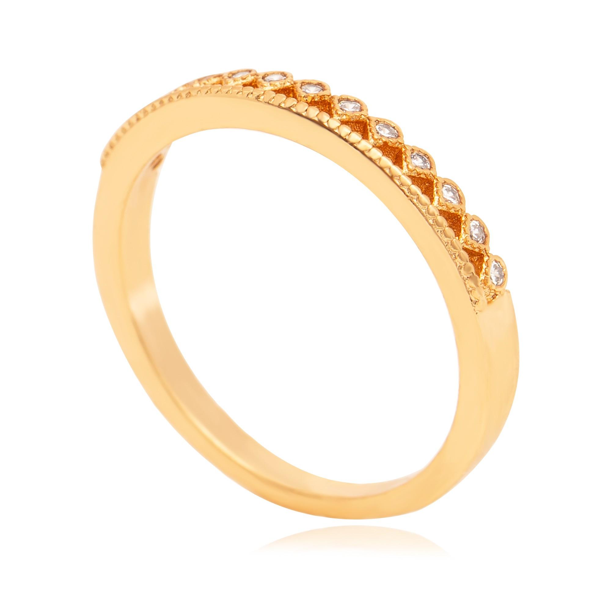 Anel minimalista zircônias banhado a ouro 18k  - romabrazil.com.br