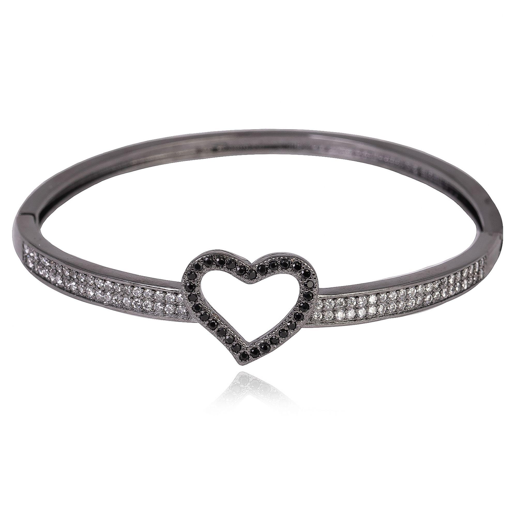 Bracelete com detalhe de coração com zircônias cristais e negras banho de grafite.  - romabrazil.com.br