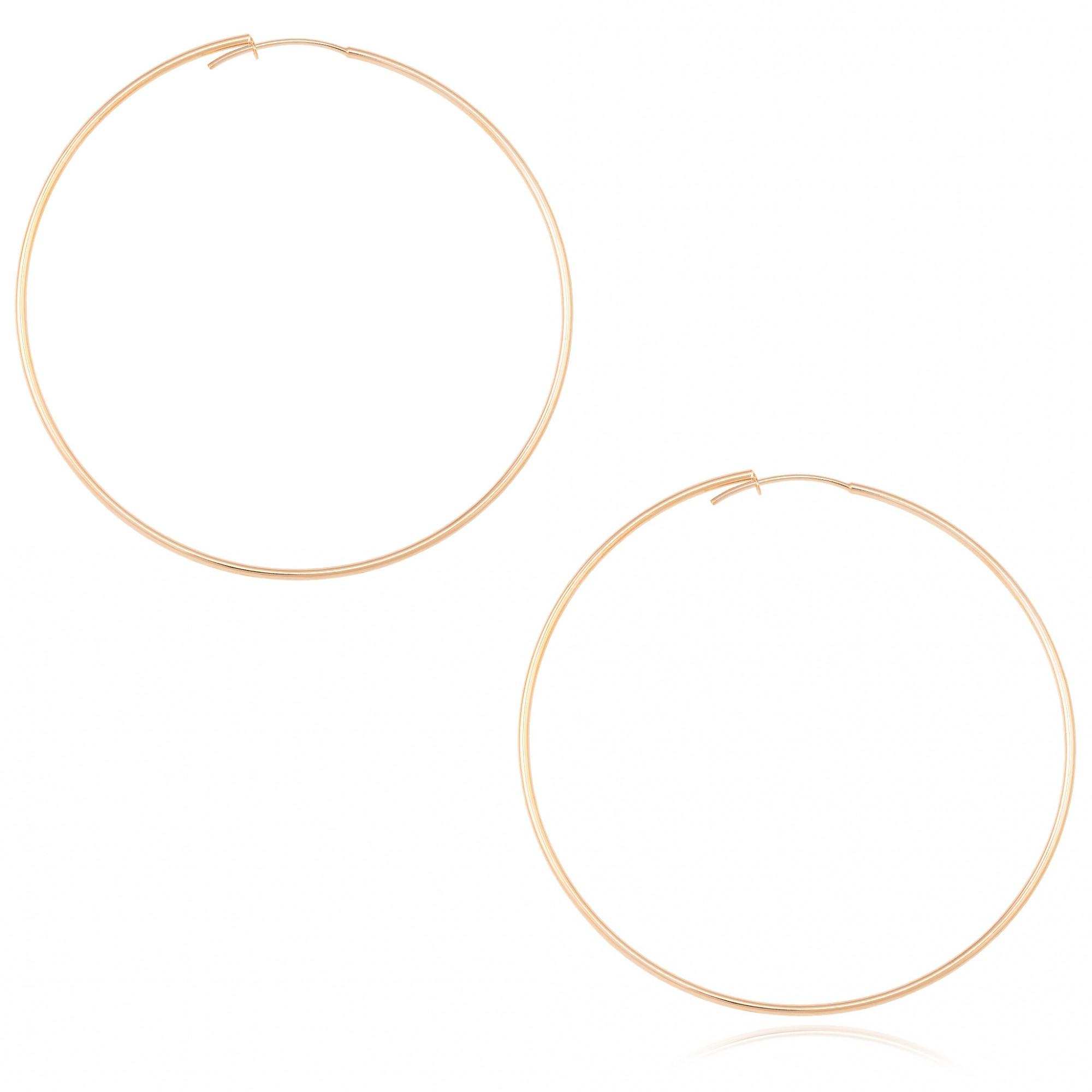 Brinco argola lisa 7 cm banhado a ouro 18k.  - bfdecor.com.br