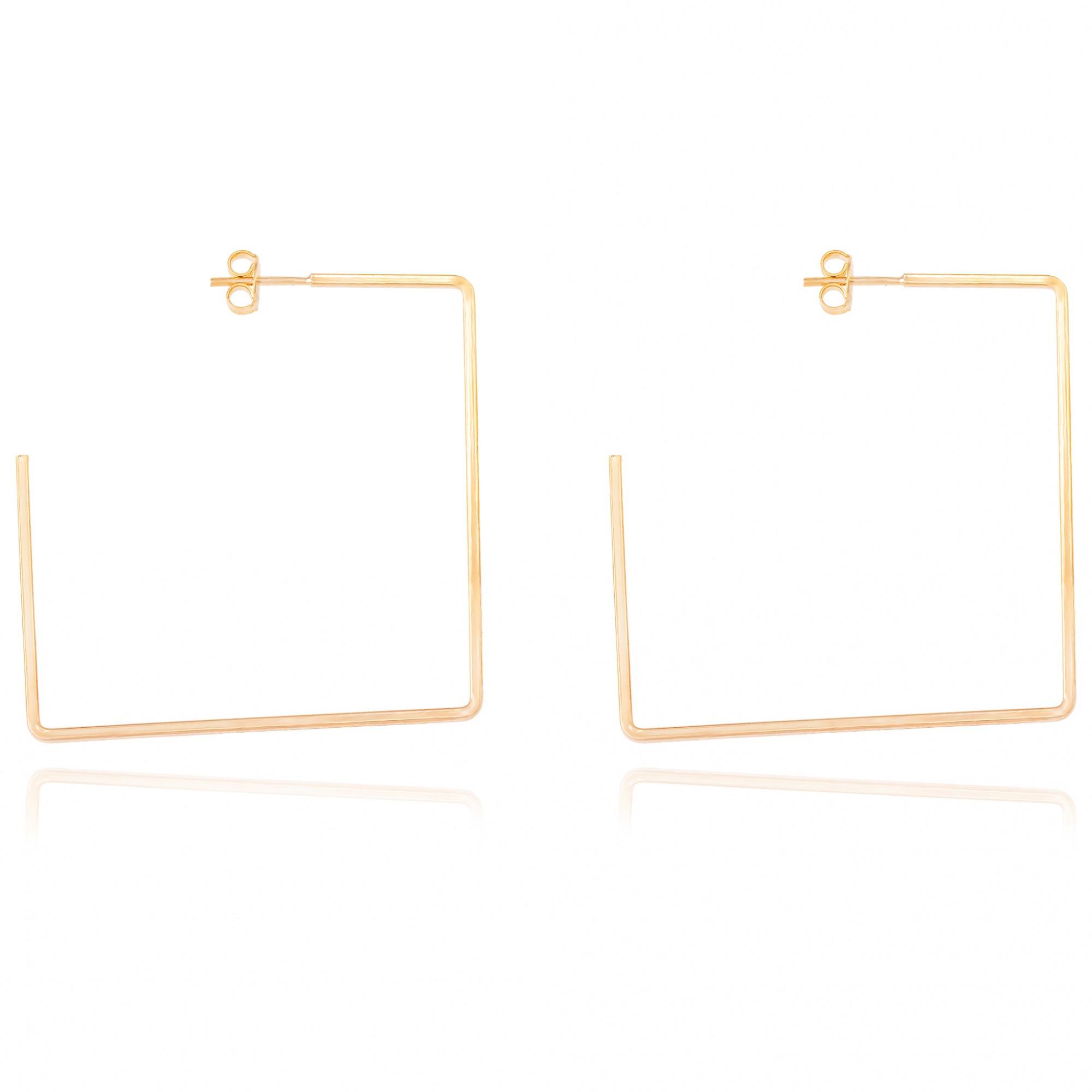 Brinco argola quadrada 4 cm banhado a ouro 18k.  - romabrazil.com.br