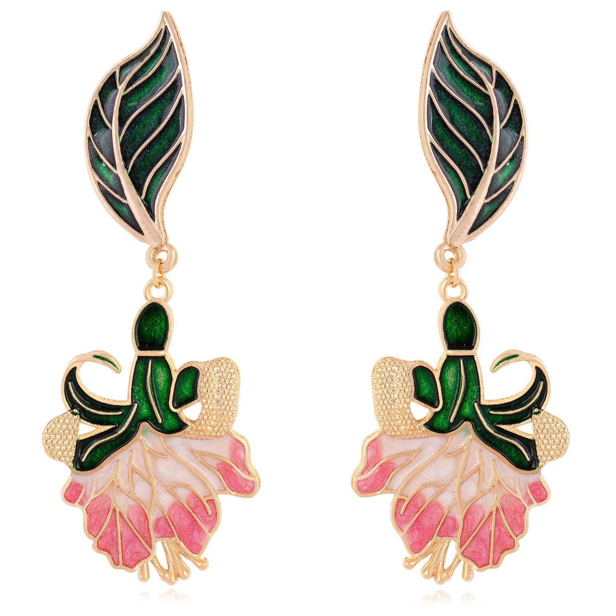 Brinco de flor banhado a ouro 18k resinado em rosa.  - romabrazil.com.br