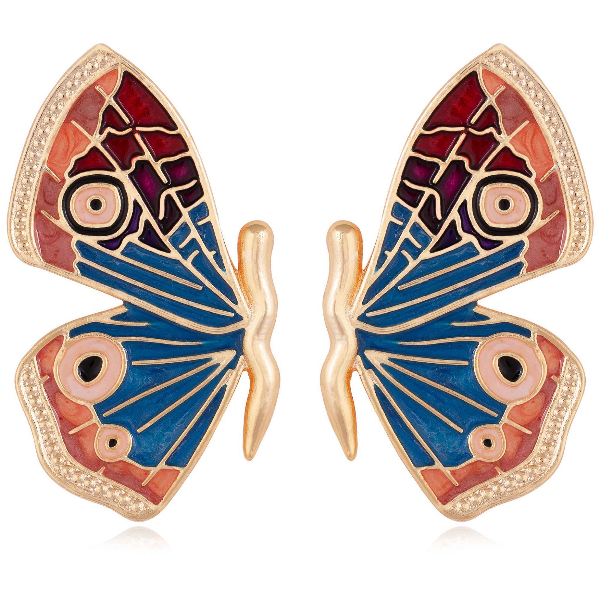 Brinco borboleta banhado a ouro 18k resinado em azul, vermelho e tons terrosos.  - romabrazil.com.br