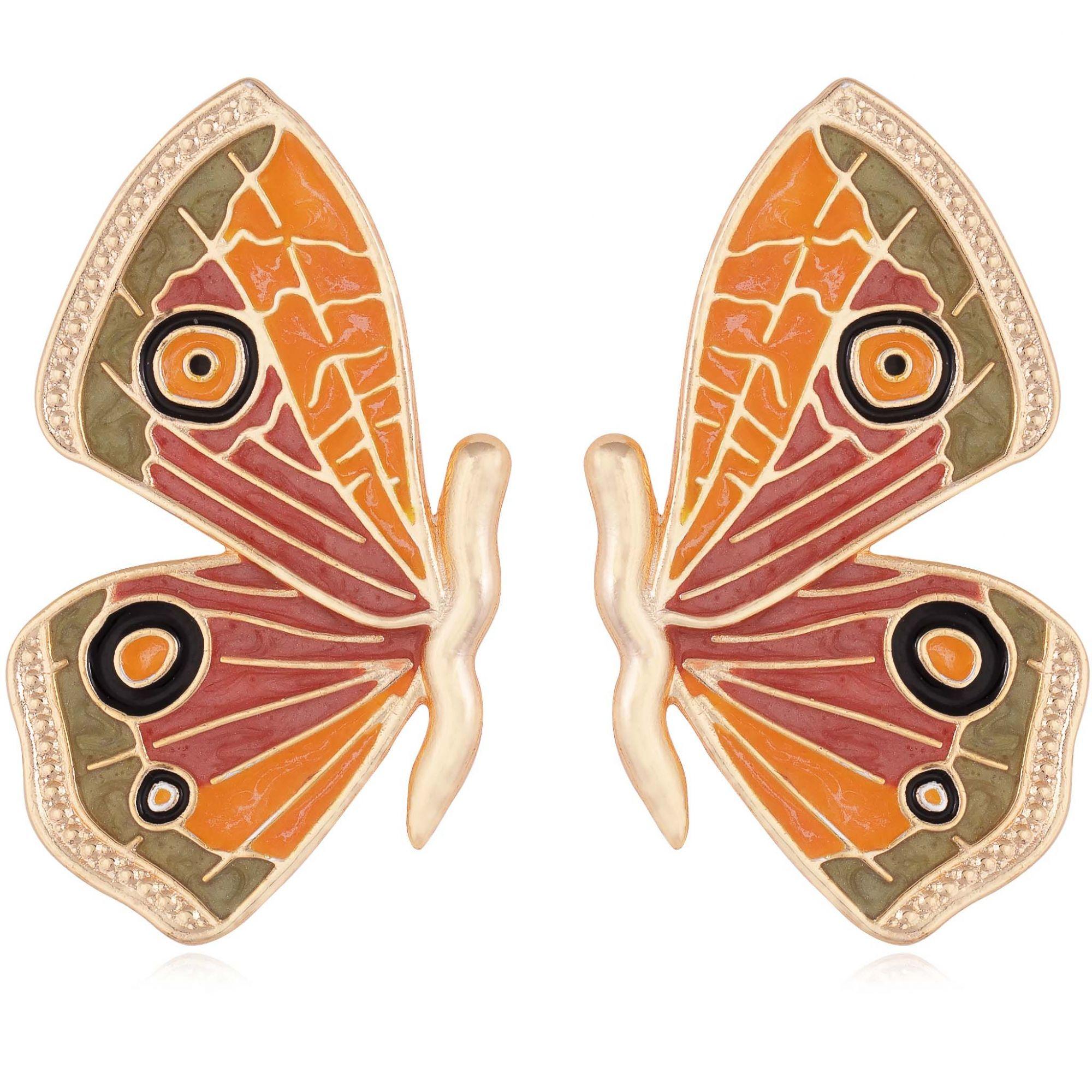 Brinco borboleta banhado a ouro 18k resinado em verde, amarelo e terracota.  - romabrazil.com.br