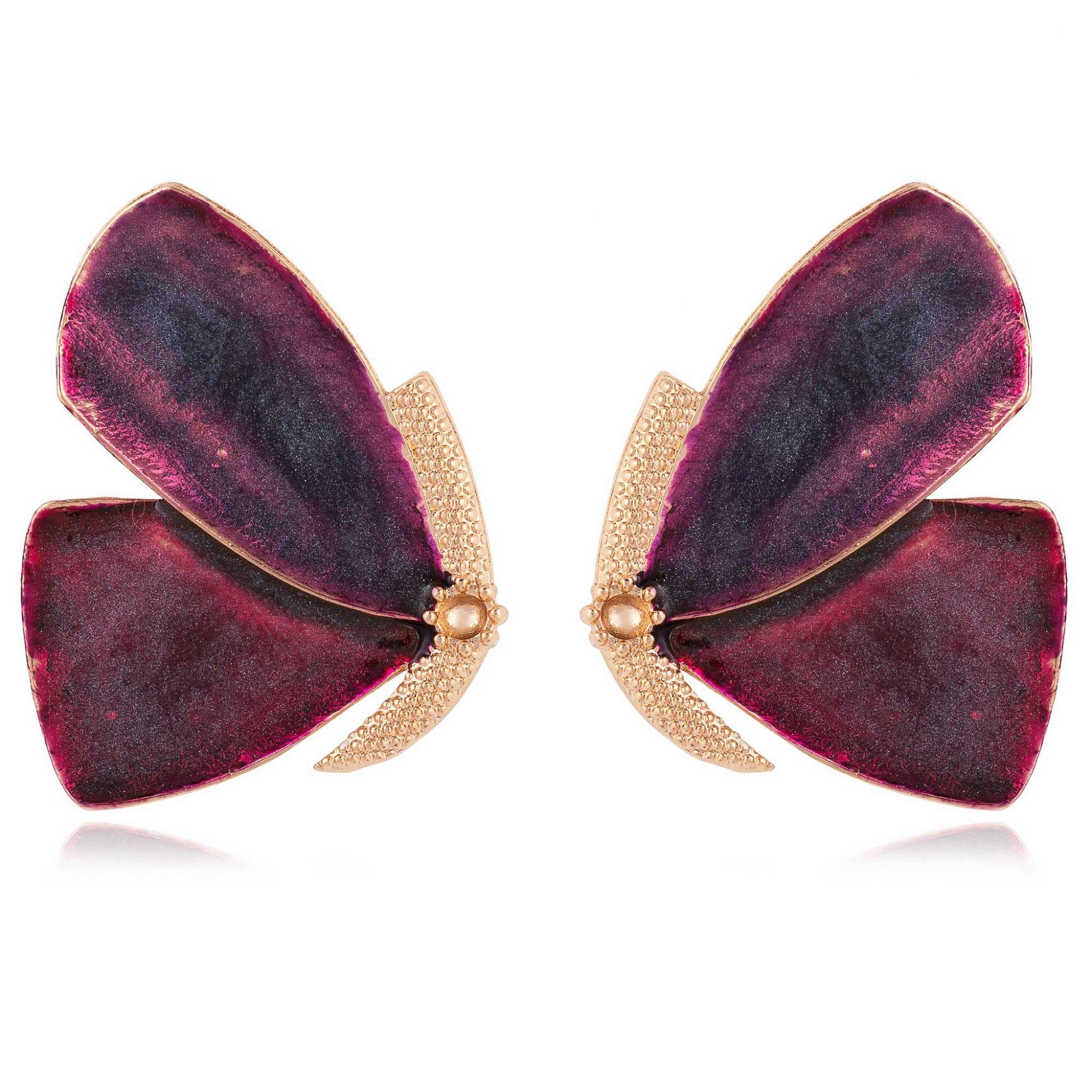 Brinco borboleta banhado a ouro 18k resinado em tons de fúcsia.  - romabrazil.com.br