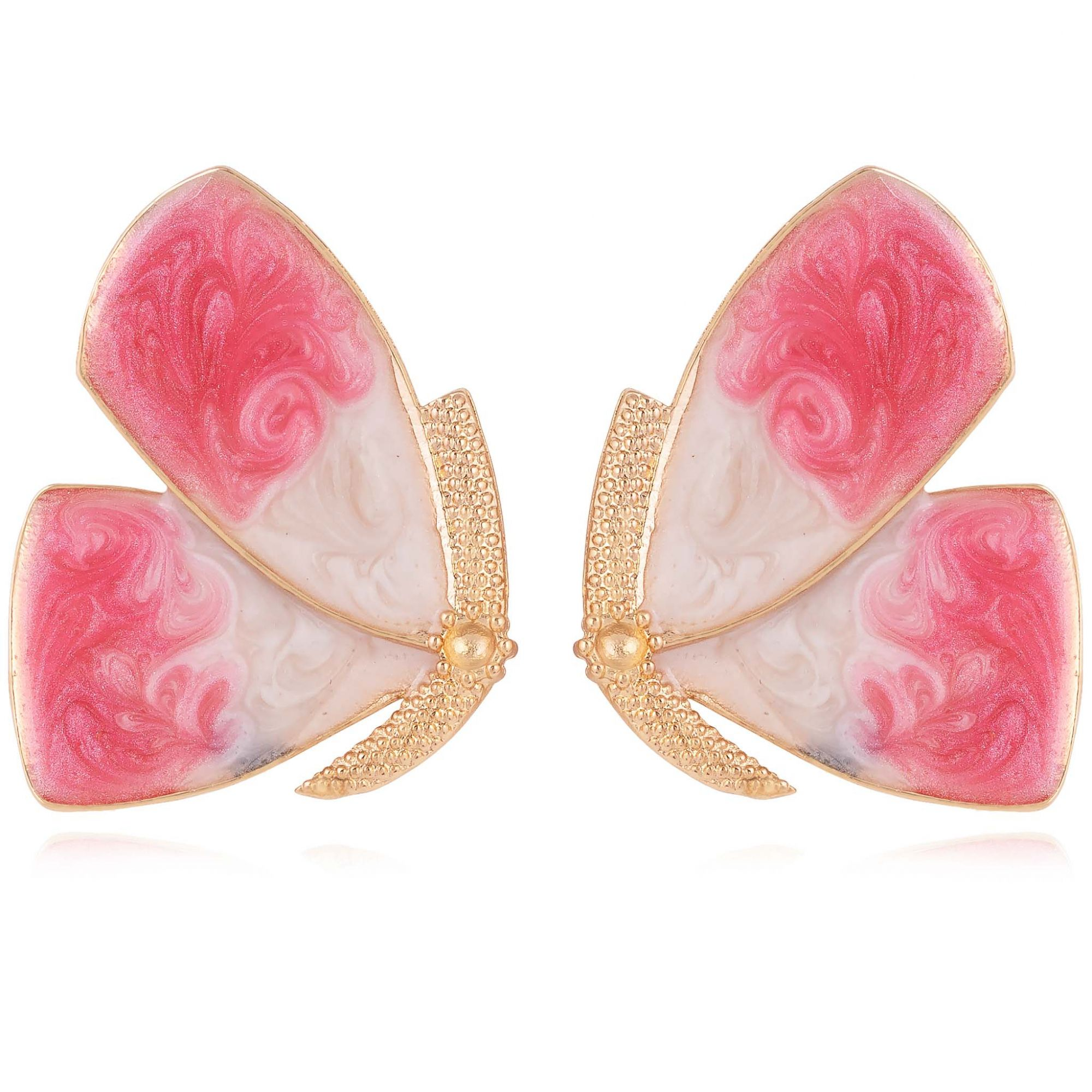 Brinco borboleta banhado a ouro 18k resinado em tons de rosa.  - romabrazil.com.br