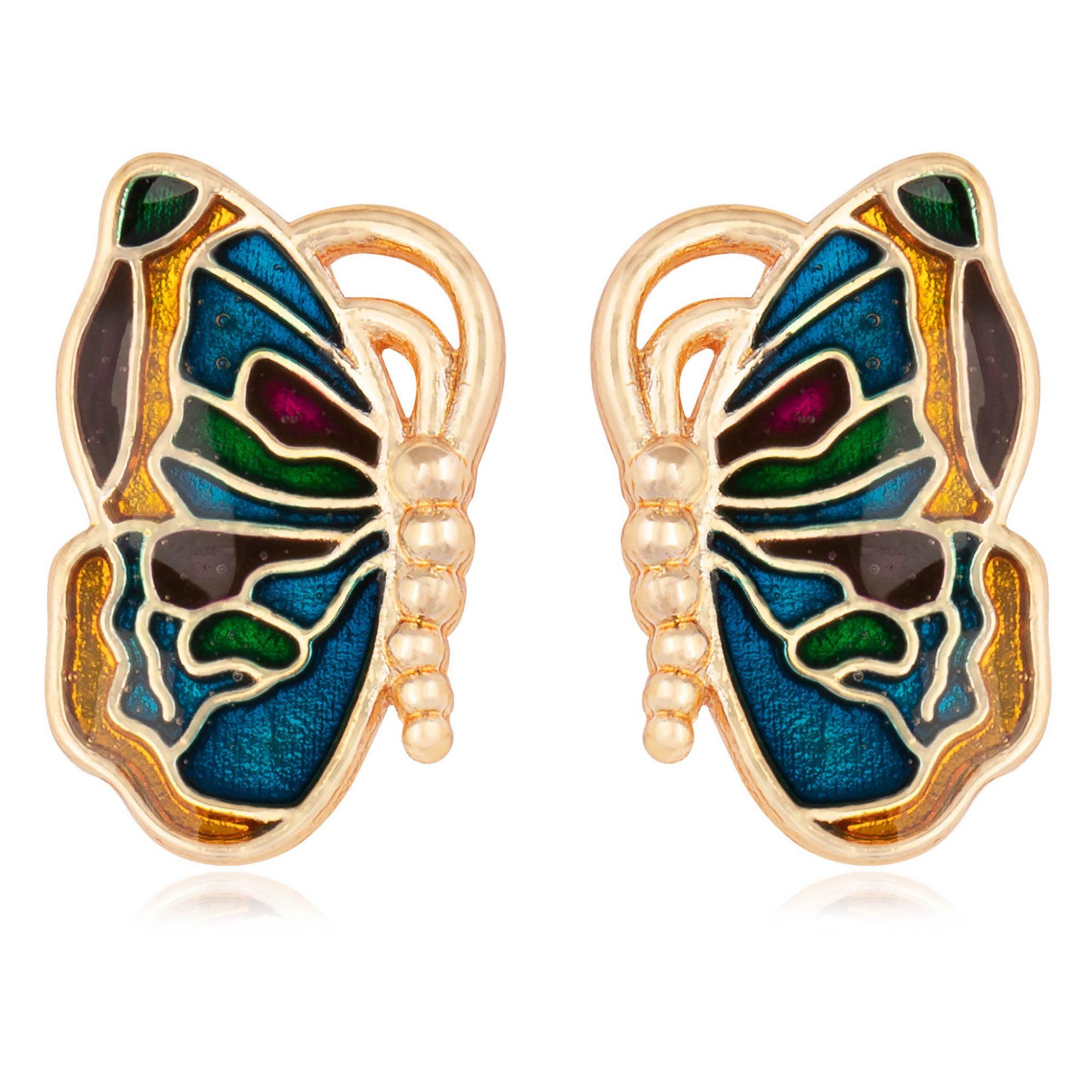 Brinco borboleta banhado a ouro 18k resinado em furta cor.  - romabrazil.com.br